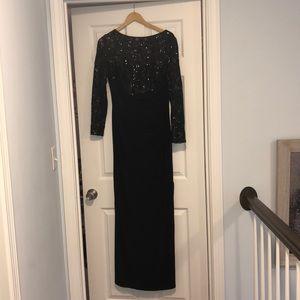 Open slit long black shiny dress